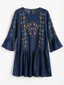 فستان مصغر مطرز بالأزهار كشكش - الدينيم الأزرق الداكن L