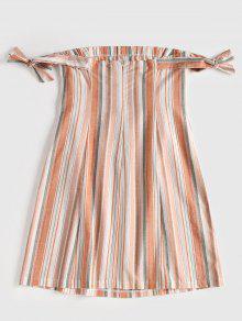 gebundenes schulterfreie kleid mit kn pfen rosa kaugummi minikleid s zaful. Black Bedroom Furniture Sets. Home Design Ideas