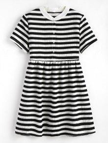فستان مخطط بنصف الزر مصغر - أسود