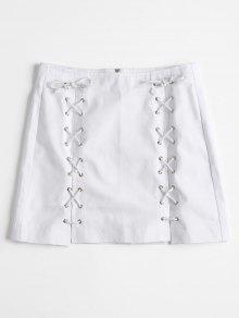 تنورة جينز بسحاب رباط - أبيض L
