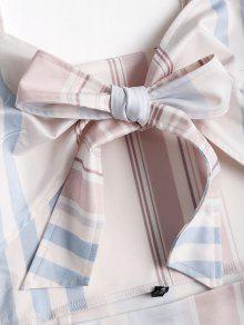 L Rayas A Mini Blanco Cortado Vestido Cordones Con Fxq0xaO