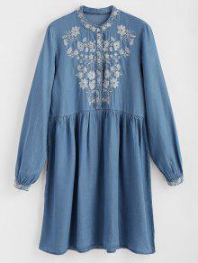 فستان مستقيم مطرز بنصف زر - ازرق L
