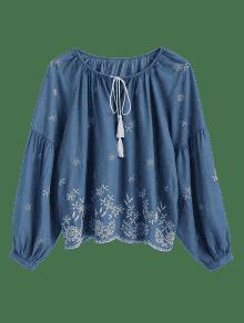 Blue Denim M Atado Bordada Borlas Con Blusa wnXgqTR
