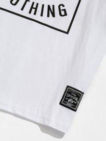 De Blanco Letras Corta De Estampado 243;n Algod M De Con Camiseta Manga 8BF7gqFv