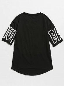 M Negro Slit Graphic Casual Letra Tee pEqaHnxEWf