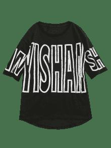 M Casual Negro Slit Graphic Tee Letra xR71qY8X