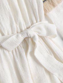 Blanco El Vestido S Con En Borlas Bohemio Mini Hombro PXHq0X