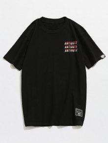 Algod Camiseta Estampada M Corta 243;n Manga Negro r667zqtSw