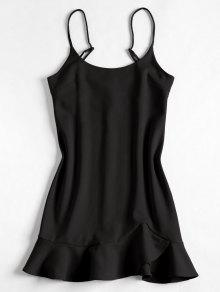 Ruffles Mini Negro Slip S Dress 4dx4p5w0q