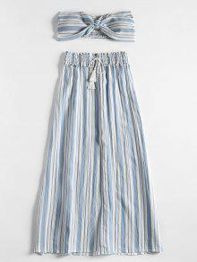Stripes Shirred Panel أنبوب أعلى والشق تنورة مجموعة - ازرق فاتح S