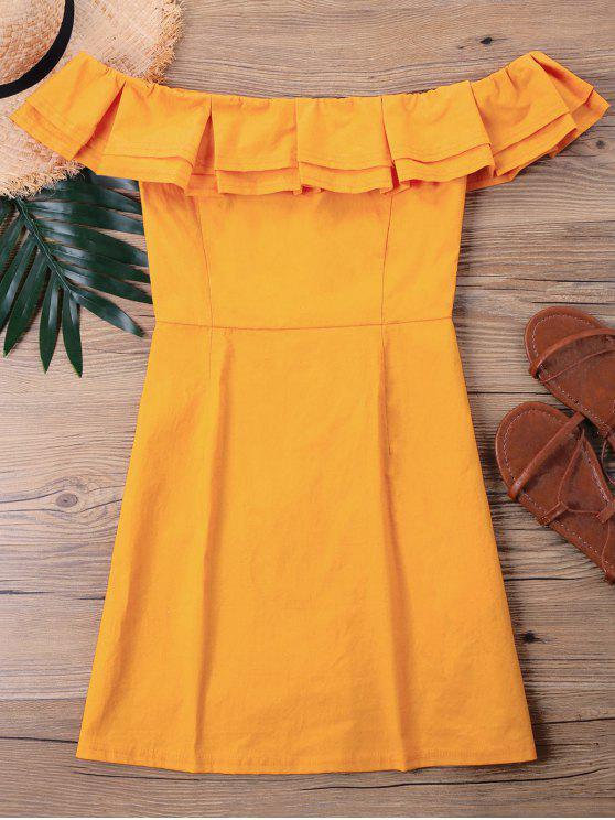 فستان قصير كشكش - نحلة صفراء XL