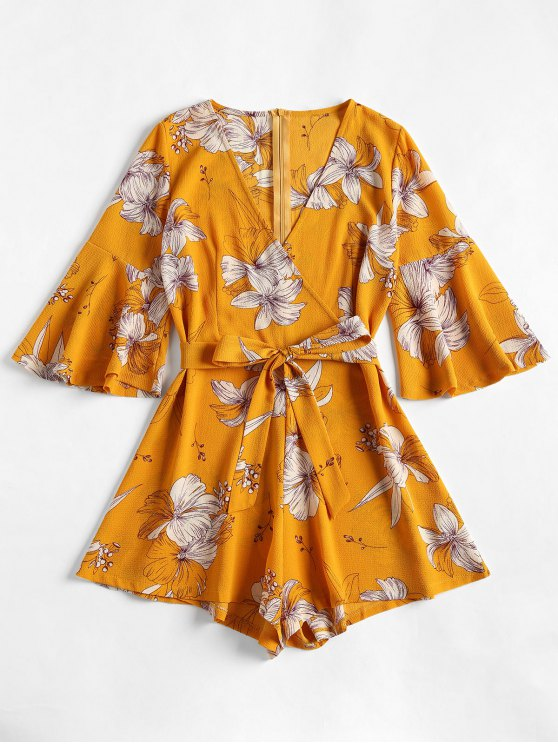 313c10ef5fc 29% OFF  2019 Bell Sleeve Surplice Floral Cute Romper In BEE YELLOW ...