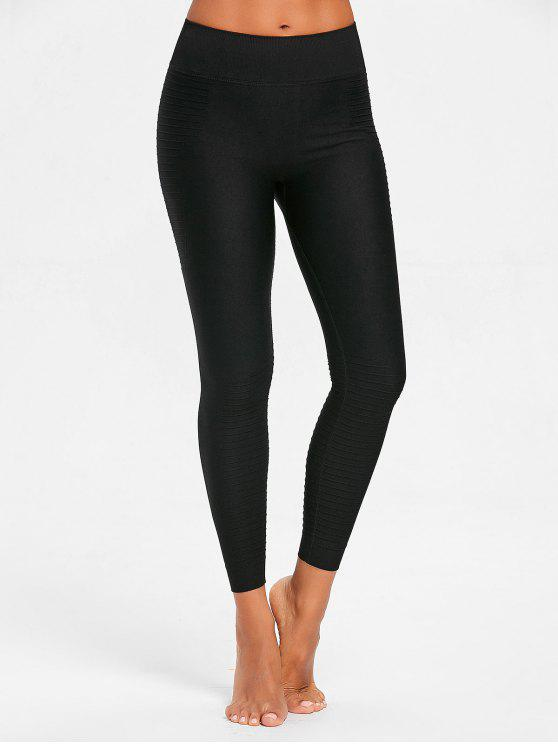 fashion Stretch-jersey Moto Leggings - BLACK M