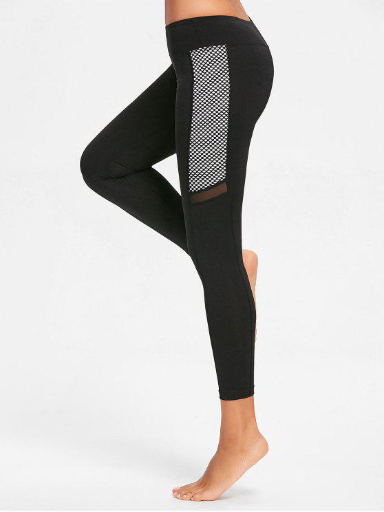women Fishnet Panel Sports Leggings - BLACK S