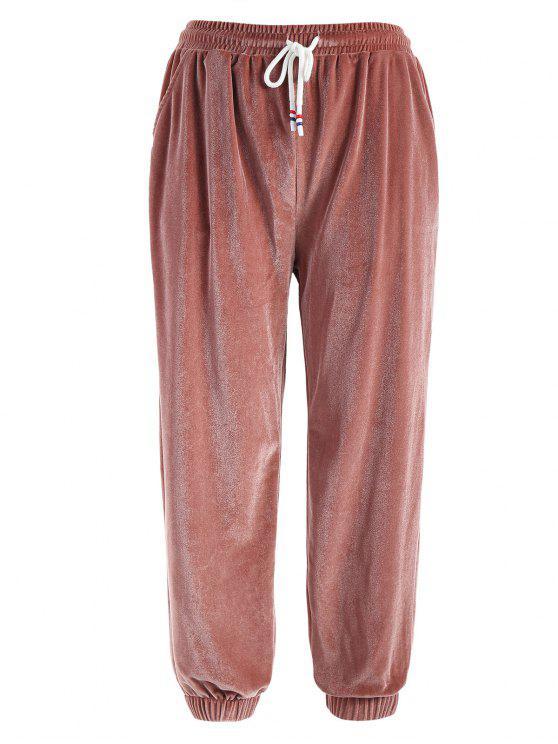 c2f9737dd4  26% OFF  2019 Pantalones Jogger De Terciopelo A Rayas Laterales En Arco  Rosa