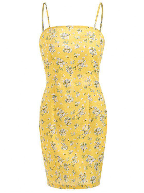 فستان طباعة الأزهار مصغر - ذرة صفراء L