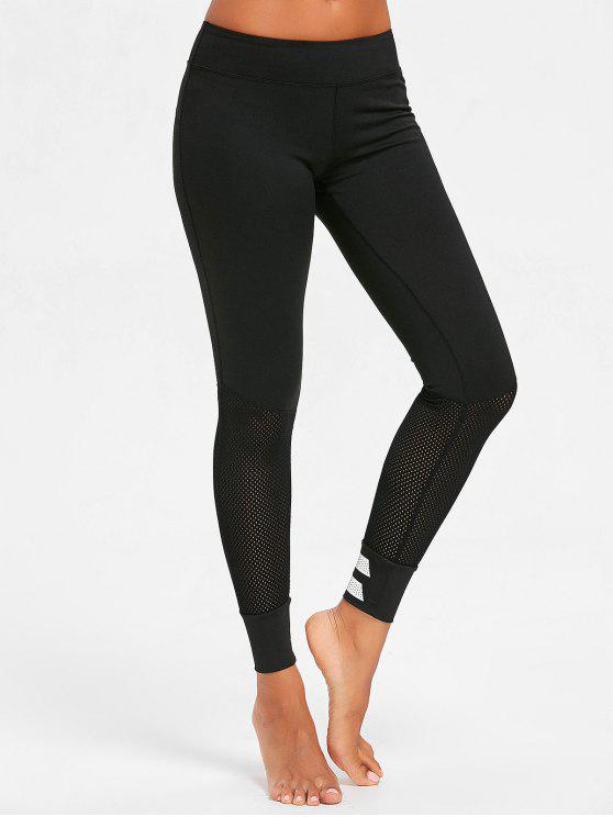 Reflect Light Band perforierte Sport Leggings - Schwarz S