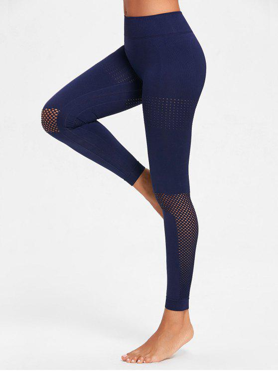 unique Seamless Sculpt Perforated Sports Leggings - NAVY BLUE L