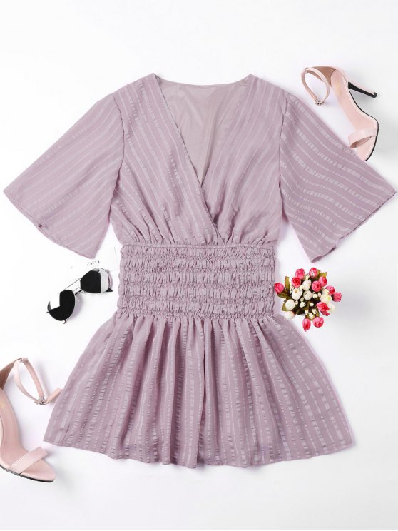 outfits Smocked Surplice Mini Dress - NUDE PINK S