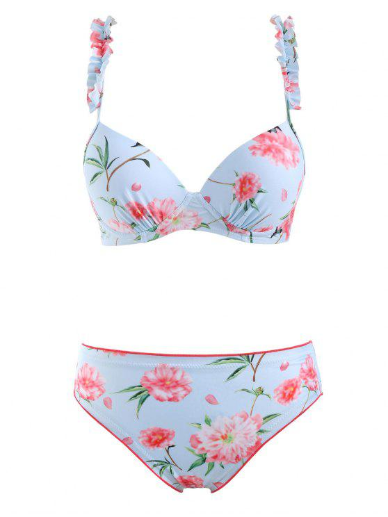 chic Frilled Floral Underwire Bikini Set - SEA BLUE L