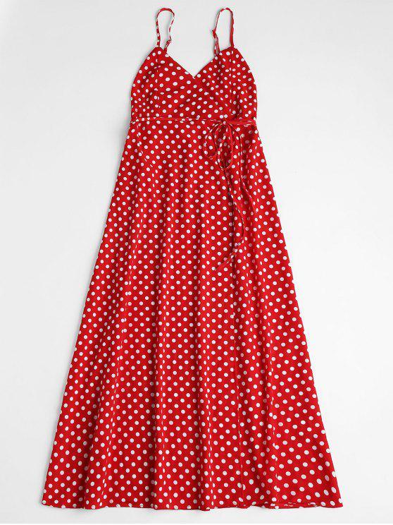 womens Polka Dot Wrap Midi Dress - RED M