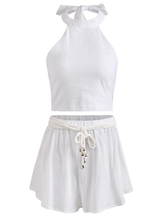 Conjunto de pantalón corto y top sin espalda halter - Blanco M