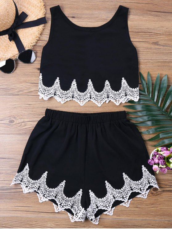 trendy Crochet Panel Shorts Two Piece Set - BLACK S