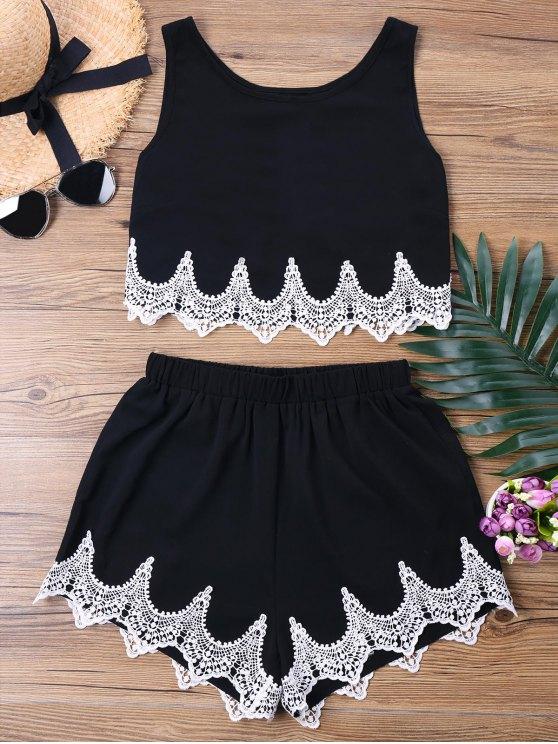 Pantalones cortos de ganchillo Pantalones cortos de dos piezas - Negro M