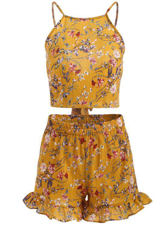 hot Floral Print Cami Crop Top and Shorts Set - MUSTARD M