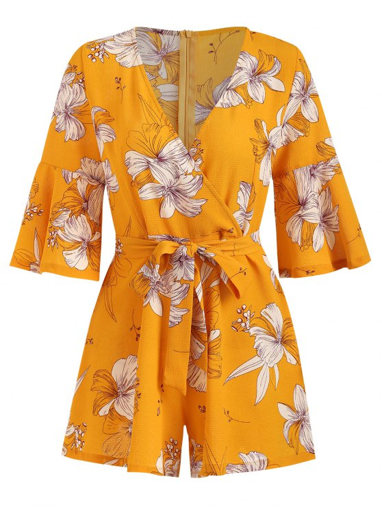 sale Bell Sleeve Surplice Floral Cute Romper - BEE YELLOW XL