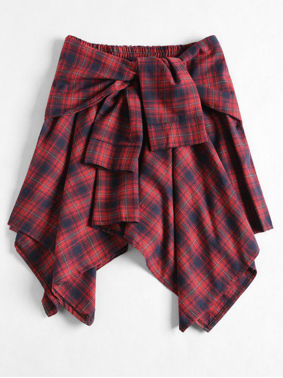 sale Tied Plaid Asymmetrical Skirt - CHERRY RED ONE SIZE