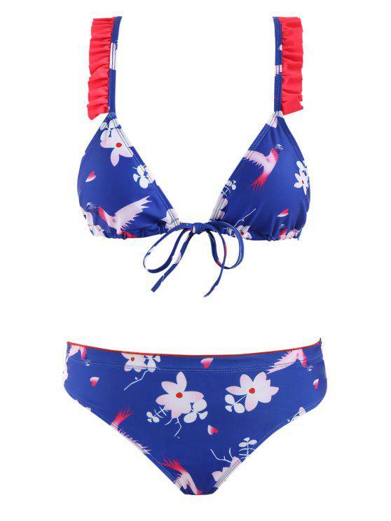 lady Floral Front Closure Racerback Bikini Set - ROYAL BLUE S