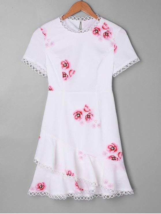 Schnur gebunden Druck Mini Volants Kleid - Weiß XL