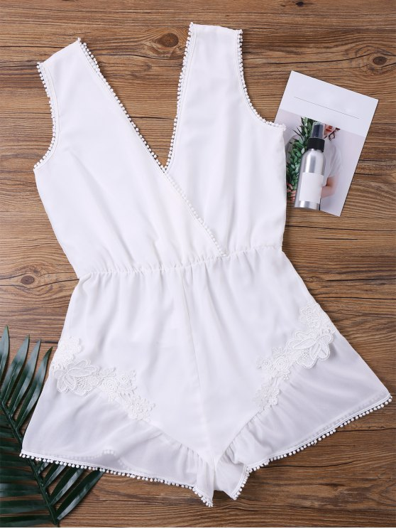 unique Fringed Sheer Plunging Neck Romper - WHITE XL