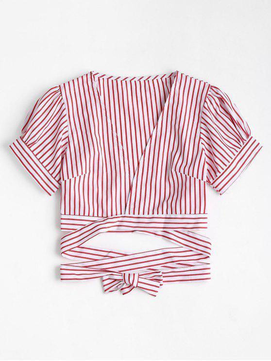 Blusa de plumón a rayas con manga de soplo - Rojo L