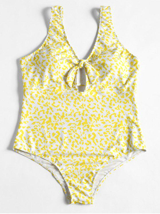 sale Cut Out Printed Plus Size Swimsuit - YELLOW 2X