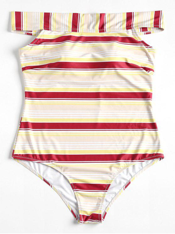 womens Plus Size Striped One-piece Swimsuit - RED WINE L
