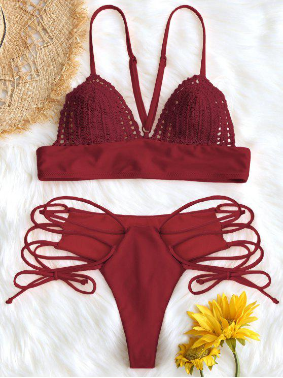 latest Bralette Crochet Panel Lace Up Bikini Set - RED M