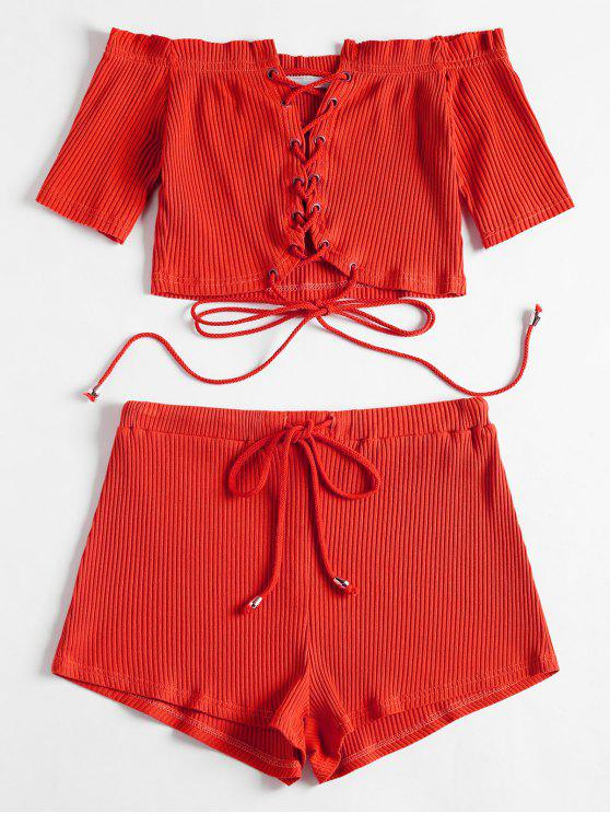 shop Off Shoulder Lace Up Top and Shorts Set - RED XL