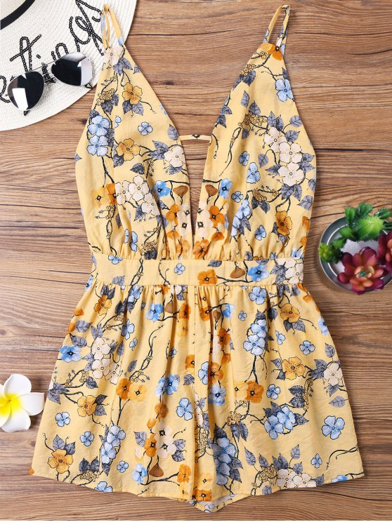 buy Print Backless Spaghetti Strap Romper - YELLOW S