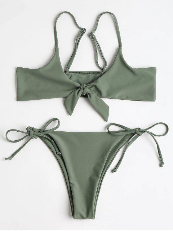 Bralette anudado parte superior y cadena Bikini Bottoms - Ejercito Verde L