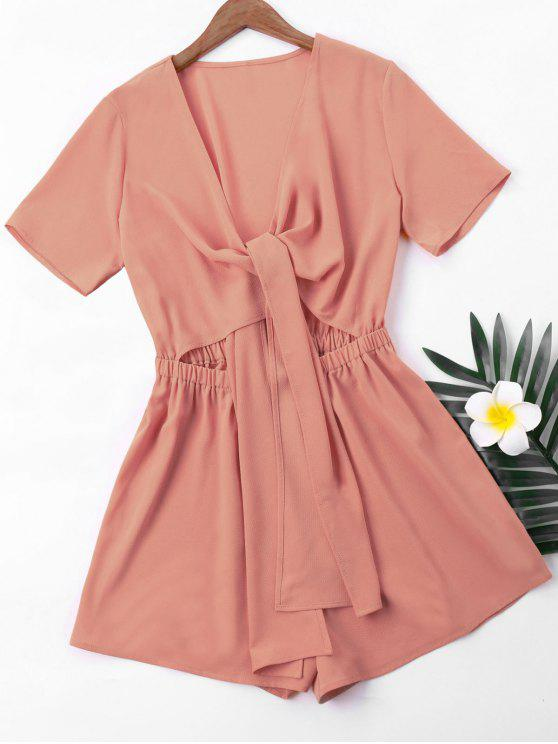 chic Short Sleeve High Waist Romper - KHAKI ROSE L