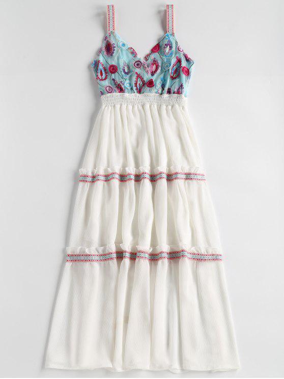Besticktes Tüll Mieder Midi Abendkleid - Weiß M