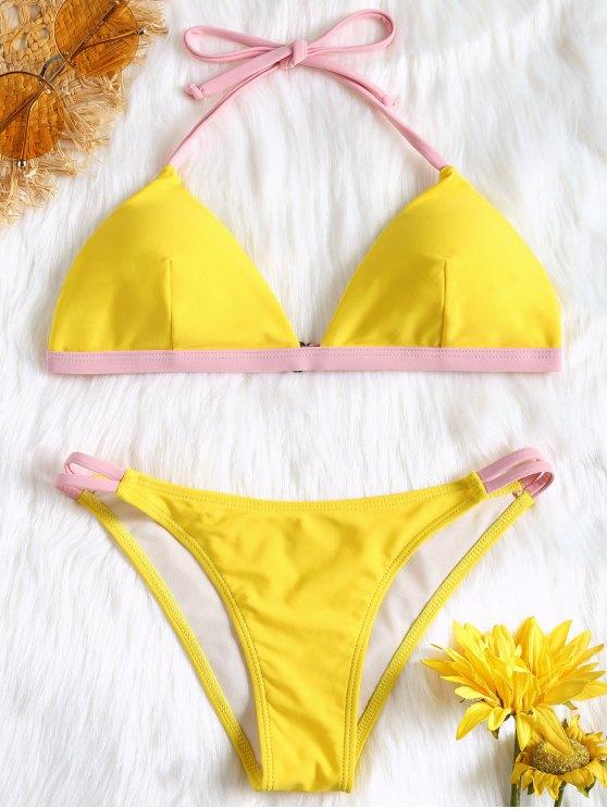 Maillots de Bain Bikini Rembourré à Couleurs Contrastées - Jaune L