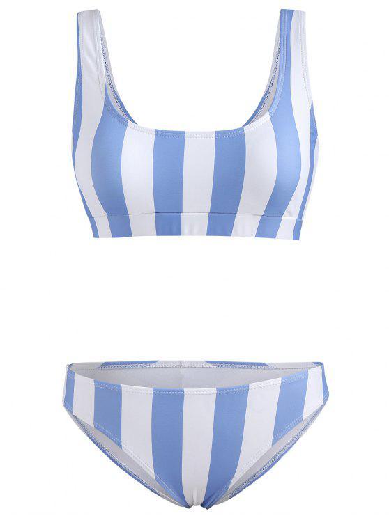 chic Stripe Tank Bikini Set - POWDER BLUE M