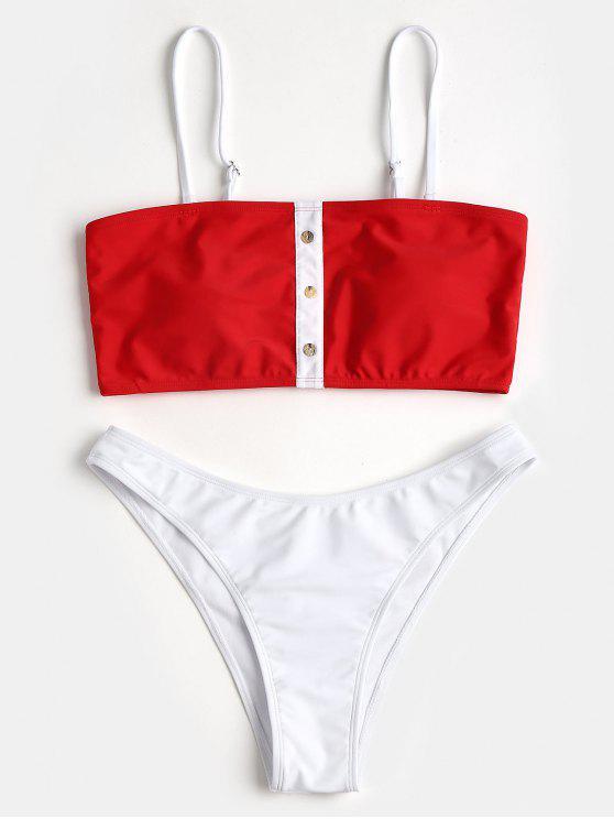 trendy Contrast Color Faux Button Bandeau Bikini Set - RED L