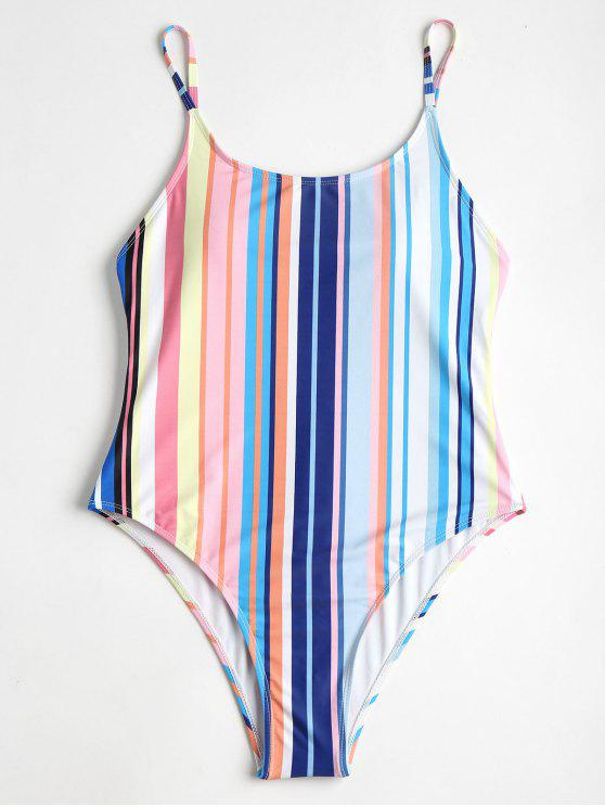 new Colorful Striped High Cut One Piece Swimsuit - MULTI L