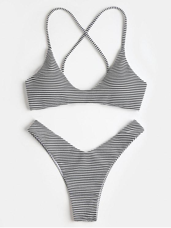 ladies Criss-Cross Striped High Cut Bikini Set - BLACK S