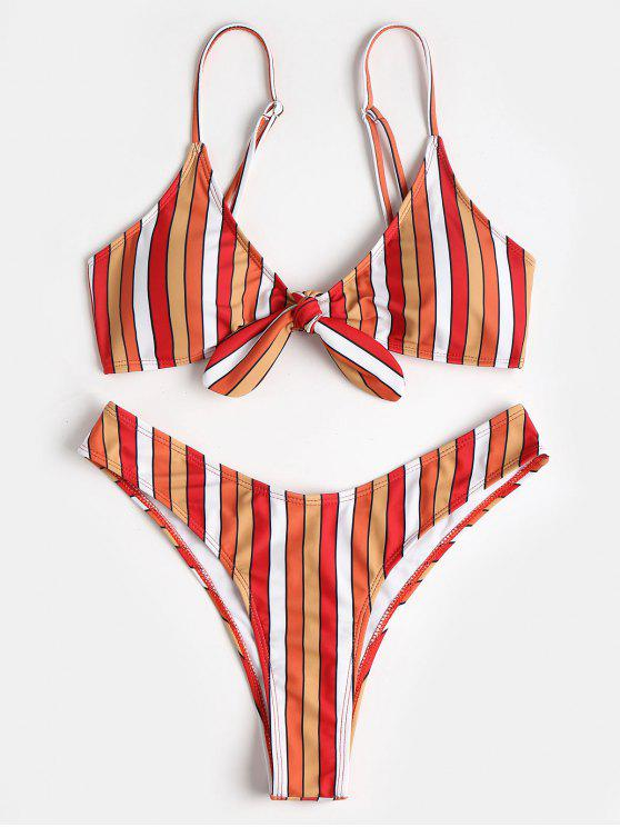 shop Contrast Stripe Knotted High Leg Bikini - MULTI L