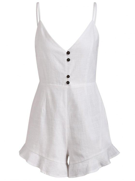 outfit Buttoned Linen Blend Cami Romper - WHITE M